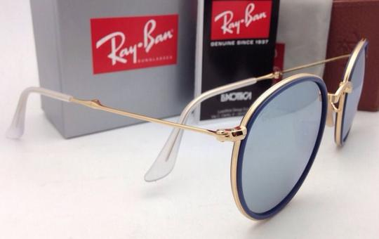 Ray-Ban RAY-BAN Folding Sunglasses 3517 001/30 51-22 Gold Blue w/Silver Mirror Image 5