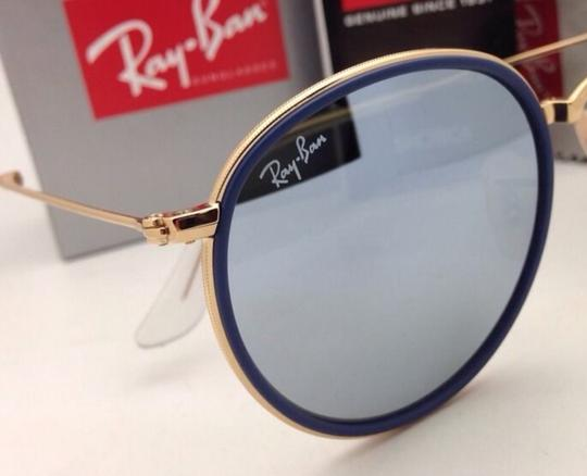 Ray-Ban RAY-BAN Folding Sunglasses 3517 001/30 51-22 Gold Blue w/Silver Mirror Image 8