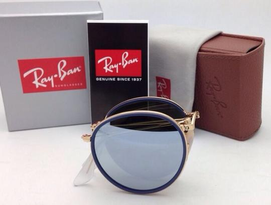 Ray-Ban RAY-BAN Folding Sunglasses 3517 001/30 51-22 Gold Blue w/Silver Mirror Image 9