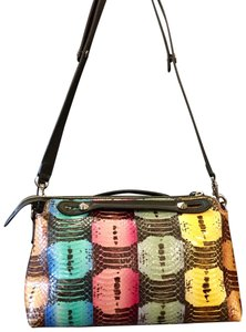 Fendi Python Multi-colored Studded Silver Hardware Satchel in Multi