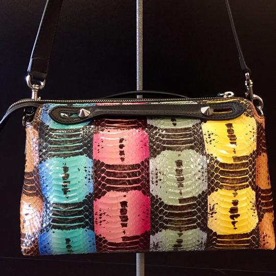Fendi Python Multi-colored Studded Silver Hardware Satchel in Multi Image 1