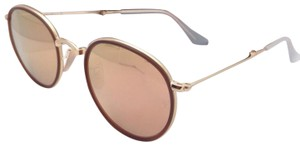 Ray-Ban New RAY-BAN Folding Sunglasses RB 3517 001/Z2 Gold Brown w/Pink Mirror