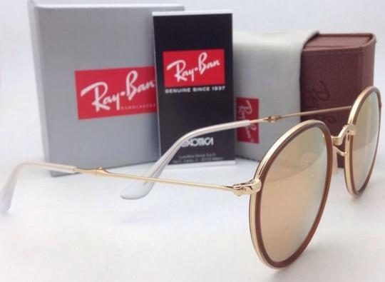 Ray-Ban New RAY-BAN Folding Sunglasses RB 3517 001/Z2 Gold Brown w/Pink Mirror Image 1