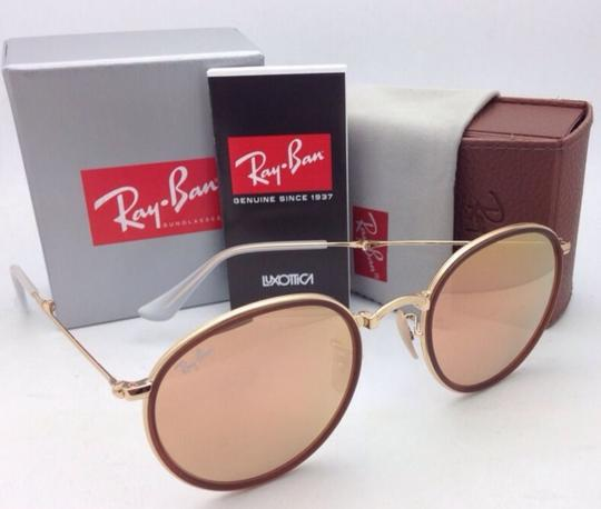 Ray-Ban New RAY-BAN Folding Sunglasses RB 3517 001/Z2 Gold Brown w/Pink Mirror Image 10