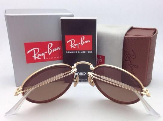 Ray-Ban New RAY-BAN Folding Sunglasses RB 3517 001/Z2 Gold Brown w/Pink Mirror Image 4