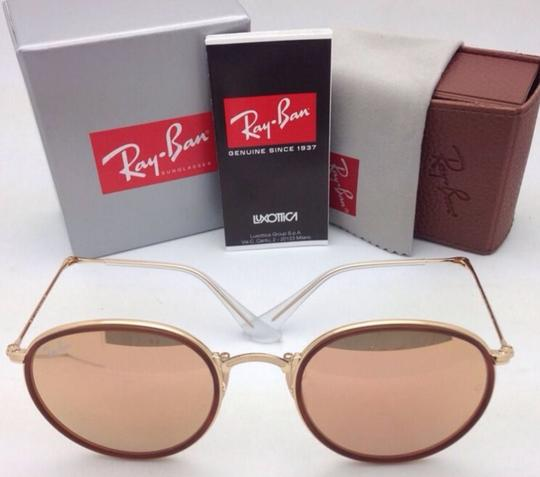 Ray-Ban New RAY-BAN Folding Sunglasses RB 3517 001/Z2 Gold Brown w/Pink Mirror Image 5