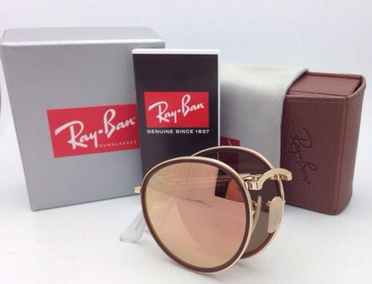 Ray-Ban New RAY-BAN Folding Sunglasses RB 3517 001/Z2 Gold Brown w/Pink Mirror Image 6