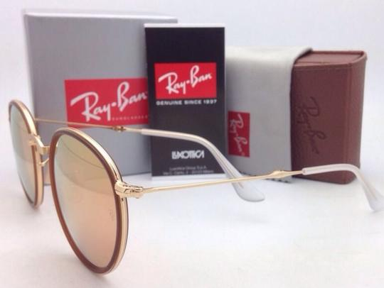 Ray-Ban New RAY-BAN Folding Sunglasses RB 3517 001/Z2 Gold Brown w/Pink Mirror Image 7