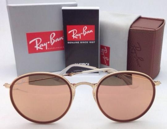 Ray-Ban New RAY-BAN Folding Sunglasses RB 3517 001/Z2 Gold Brown w/Pink Mirror Image 8