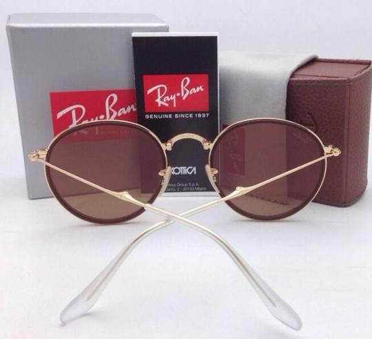 Ray-Ban New RAY-BAN Folding Sunglasses RB 3517 001/Z2 Gold Brown w/Pink Mirror Image 9