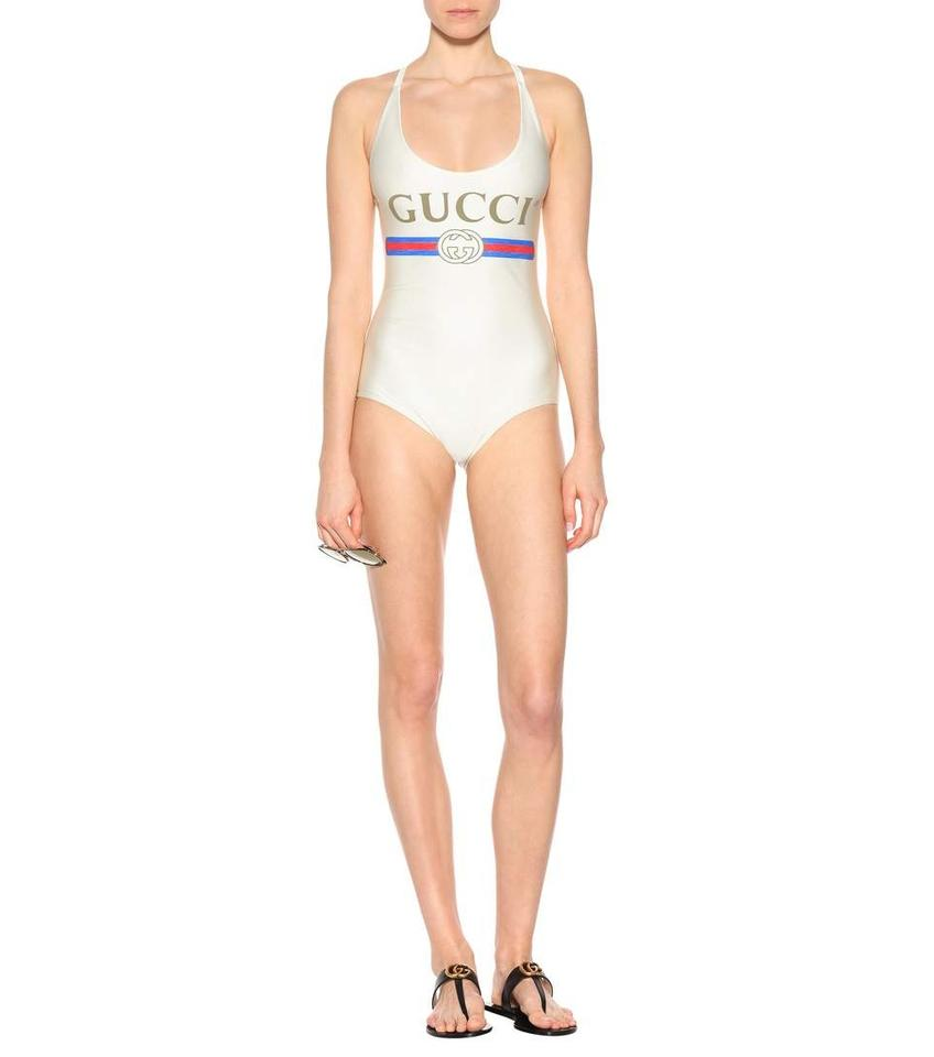a8b252b4 Gucci White Logo Swimsuit / Bodysuit One-piece Bathing Suit Size 0 (XS)
