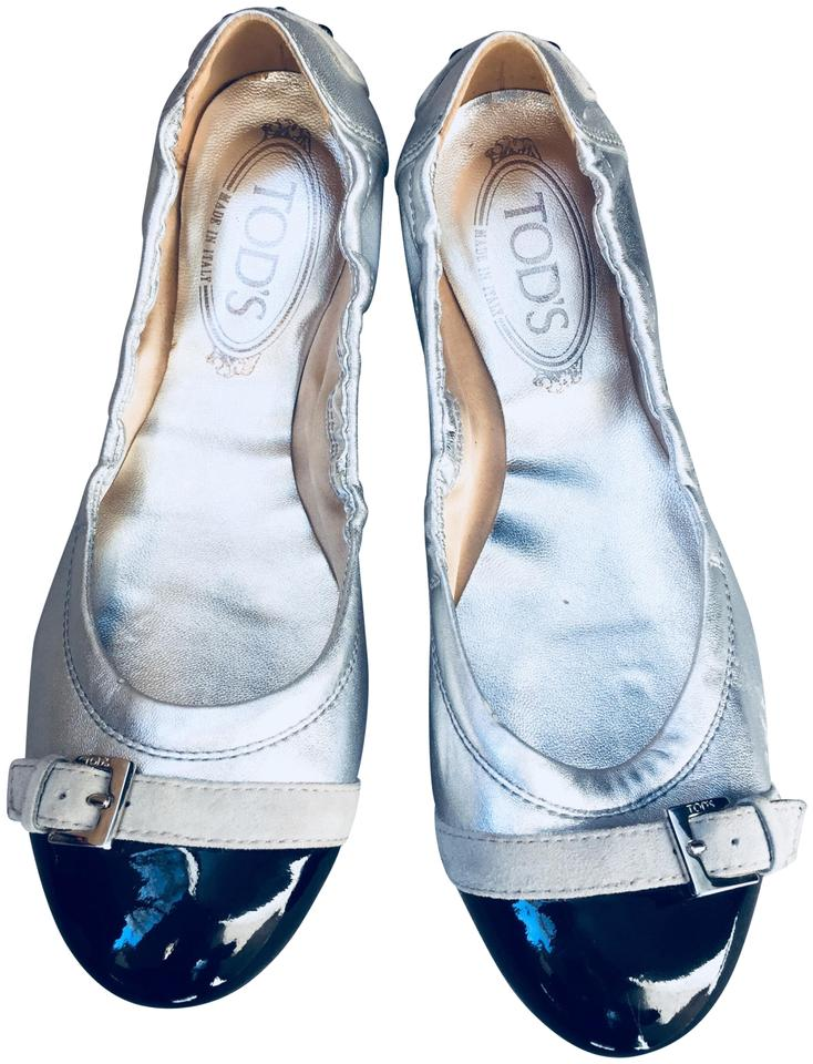0834c96039 Tod's Silver Women's Ballerina Dee Patent Leather Ballet Flats Size ...