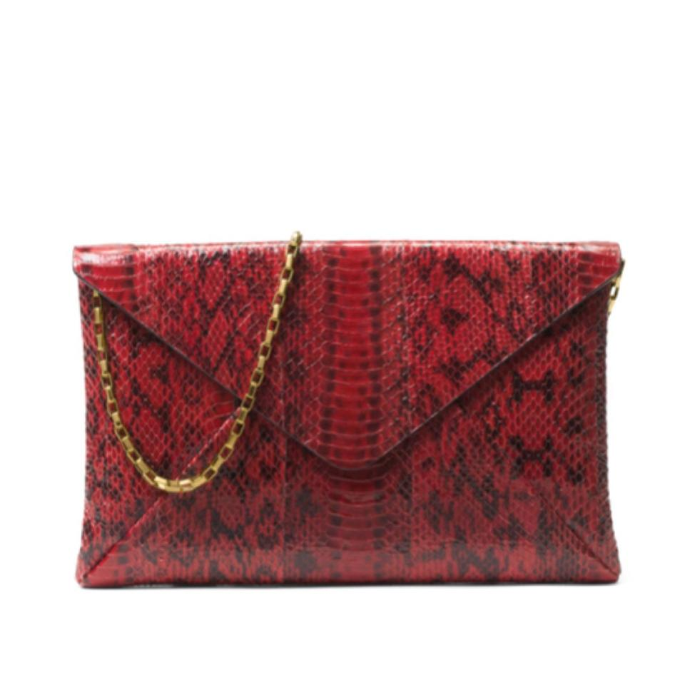 Michael Kors Collection Exotic Red Snakeskin Leather Clutch - Tradesy