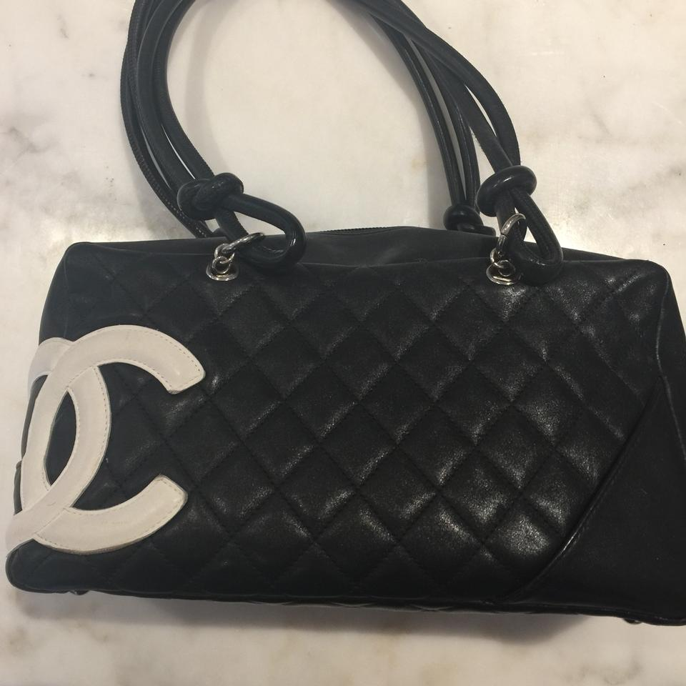 8e263346a9 Chanel Cambon Quilted Ligne Bowler Black with White Cc Lambskin Leather  Shoulder Bag