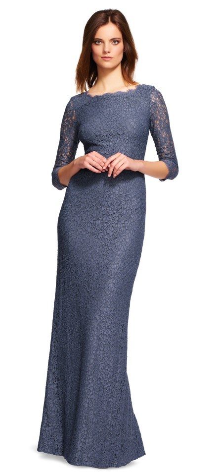 Adrianna Papell Gunmetal Grey Lace Gown with Sheer Sleeves and Slit ...