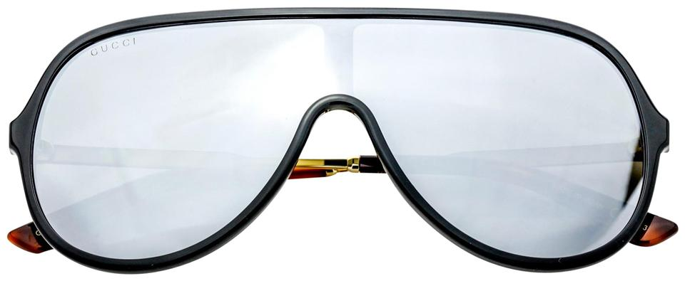 0f6b45fb360 Gucci Unisex Shield Sunglasses Black Gold Frame with Mirror Lens GG0199S 002  Image 0 ...
