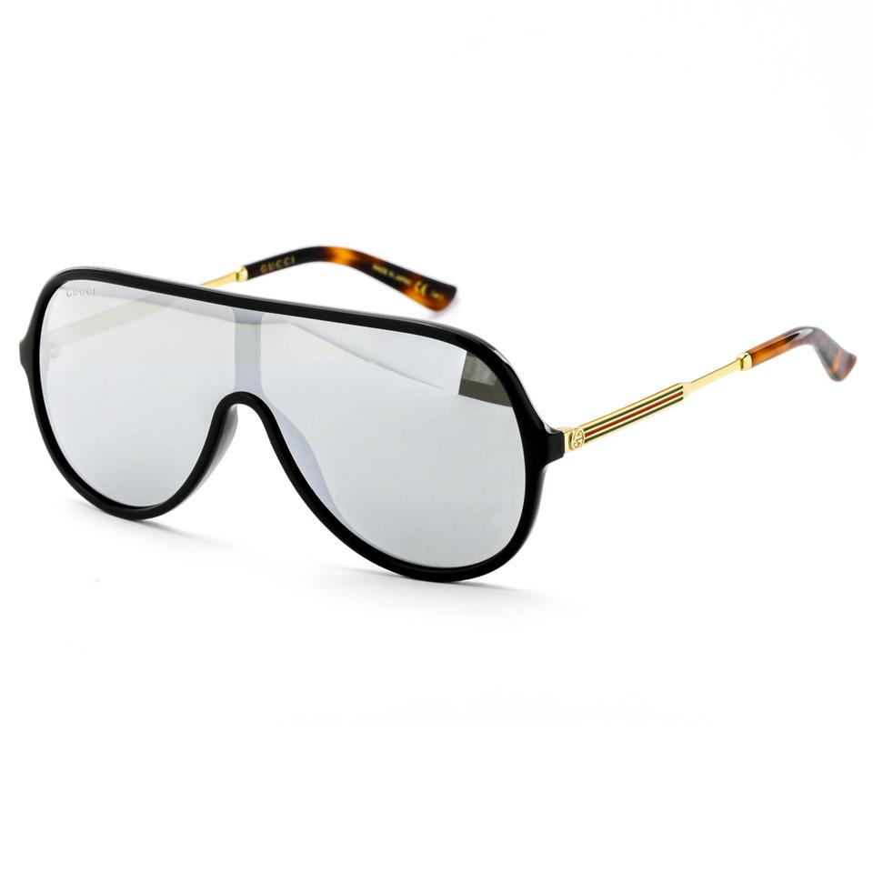 8d4ff5f19b1 Gucci Unisex Shield Sunglasses Black Gold Frame with Mirror Lens GG0199S 002  Image 6. 1234567
