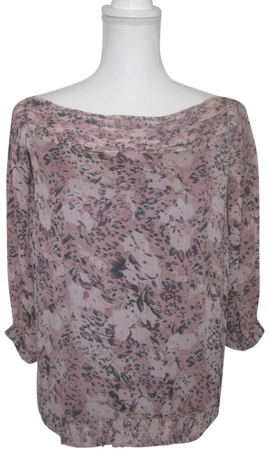 Item - Pink Black Gold Floral Print Boat Neck ¾ Sleeve Georgette Blouse Size 6 (S)