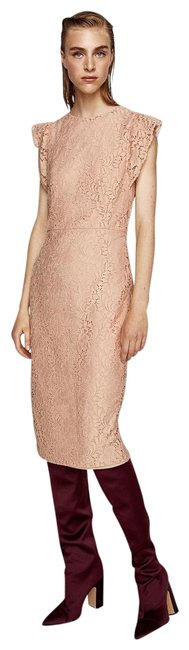 Item - Pink Nude Guipure Shift Long Cocktail Dress Size 2 (XS)