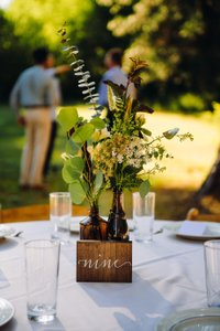 Walnut Wood Table Numbers Reception Decoration