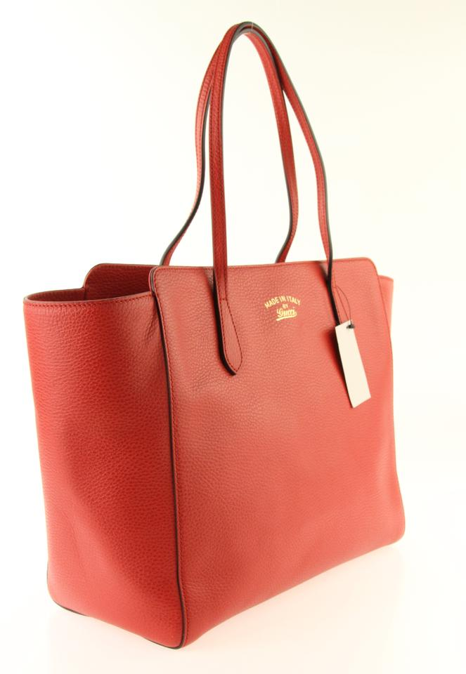 bbe58094cd4 Gucci Swing Medium Oxidation Red Leather Tote - Tradesy