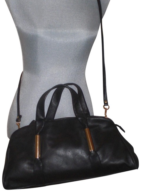 Item - Soft with Gold Ring Accents Satch Black Leather Satchel
