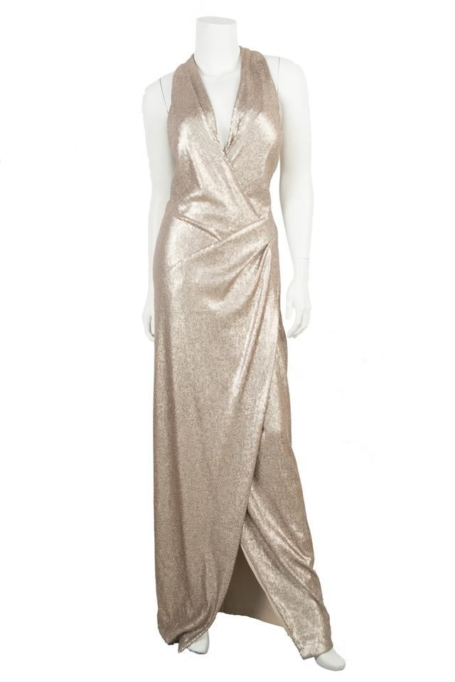 Donna Karan Champagne Sequin Gown/Evening Wear Long Formal Dress ...