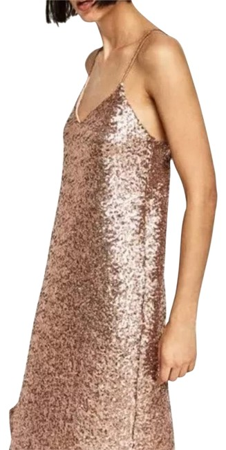 Item - Nude Pink Long Sequinned Mid-length Night Out Dress Size 8 (M)
