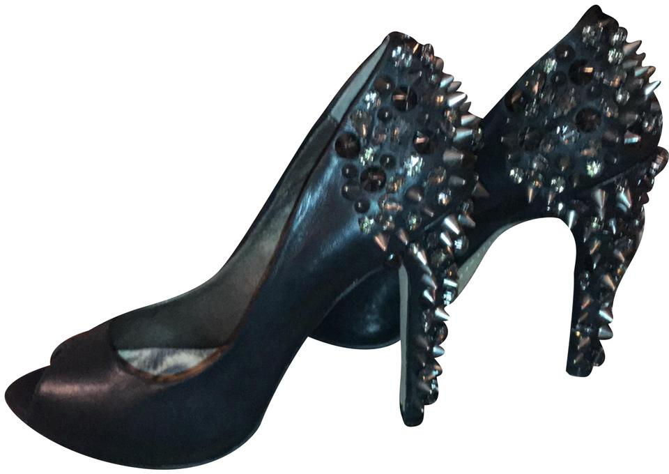 Sam Edelman with Black Sexy Soft Leather with Edelman Crystals and Spike Studs Heels Pumps afb4d5