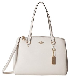 Coach Leather Crossgrain Leather Leather Satchel in White - Cream