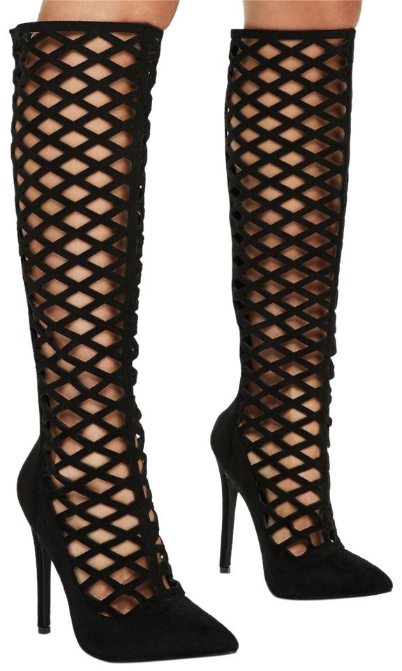 4d9826957ea Jimmy Choo Black Delta Suede Lattice Knee High Boots/Booties Size EU 37.5  (Approx. US 7.5) Regular (M, B) 76% off retail