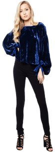 Free People Velvet Tie Longsleeve Cut-out Top blue