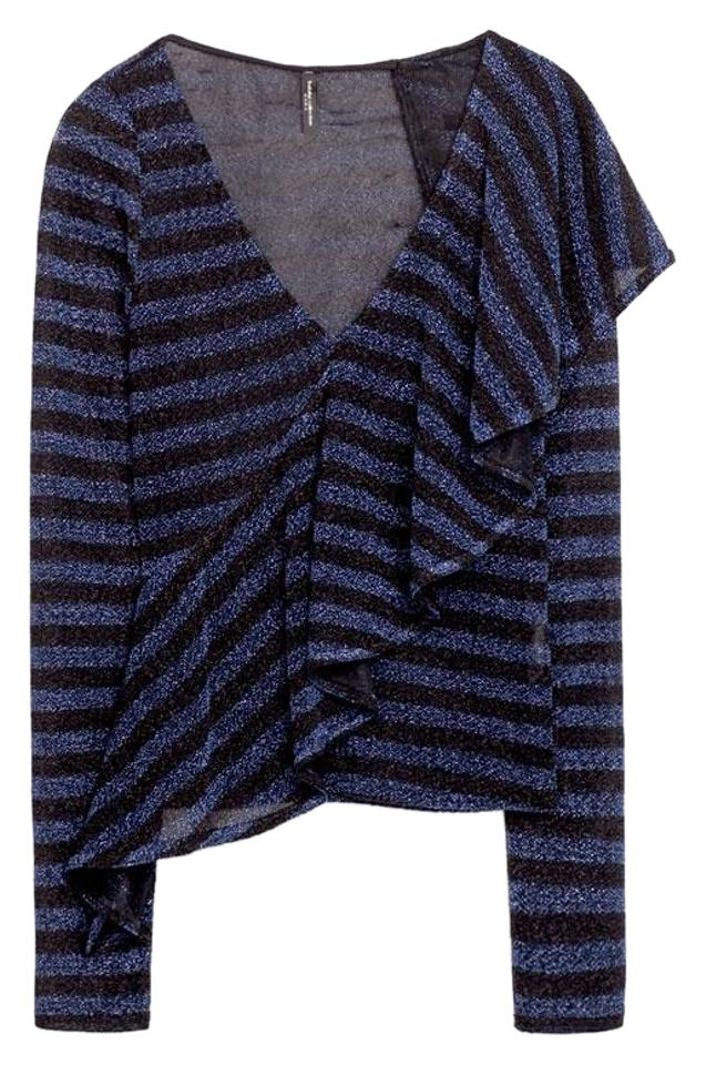 27dd67d6406306 Zara Blue Black Front Frill Long Sleeve V-neck New Striped Blouse ...