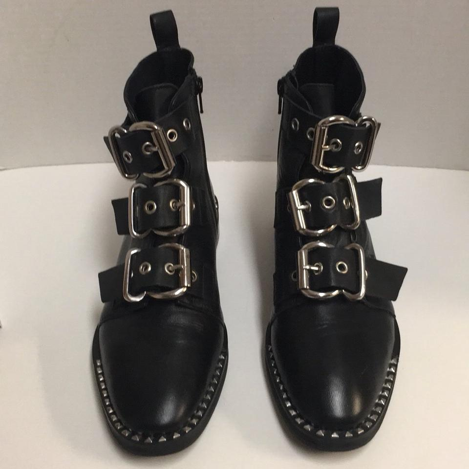 9684d2b92953 Topshop Black Alfie Studded Buckle Moto Ankle Boots/Booties Size US ...