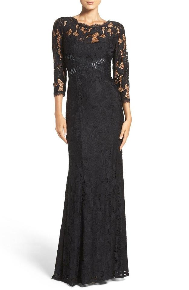 Adrianna Papell Black Illusion Yoke Lace Gown Long Formal Dress Size
