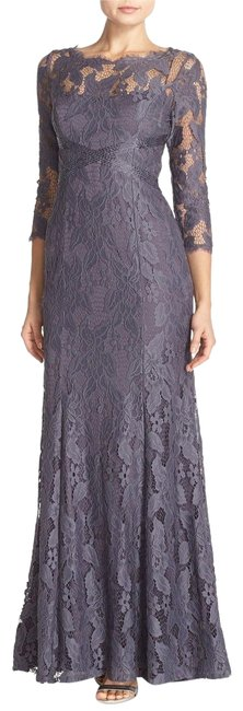 Item - Gunmetal Grey Illusion Yoke Lace Gown Long Formal Dress Size 8 (M)