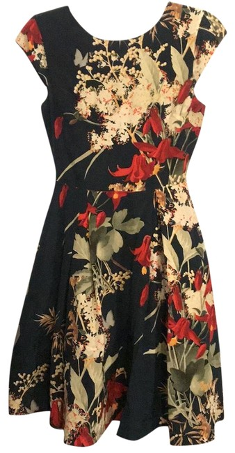 Item - Hunter Green with Red Orange Cream Floral Print Garden Fit & Flare Mid-length Cocktail Dress Size 2 (XS)