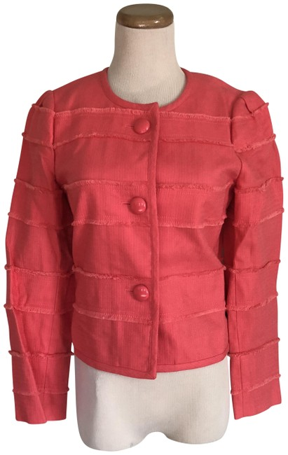 Item - Coral Cropped Ruffle Accent Lined Blazer Size 2 (XS)