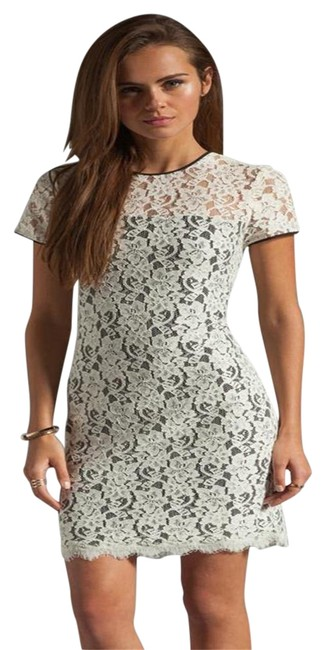 Item - Black/White Dvf Barbie Ivory Lace Overlay Cap Sleeve Short Night Out Dress Size 2 (XS)