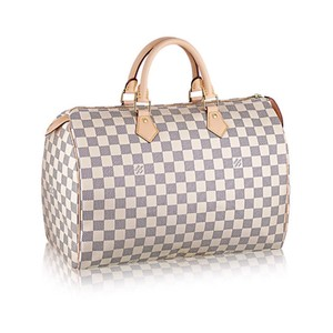 Louis Vuitton Lv Speedy 35 White Canvas Tote in Damier Azur