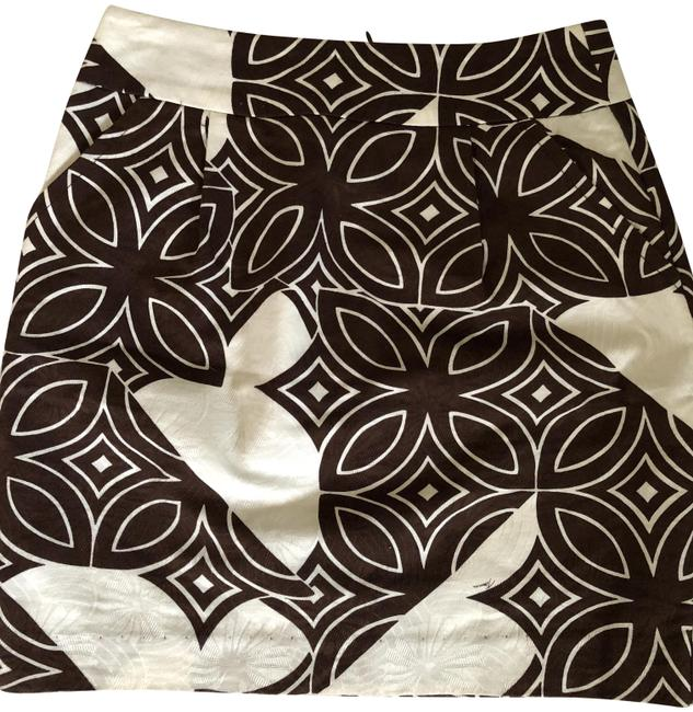 Item - Brown And White Print Lined Mini Skirt Size 0 (XS, 25)