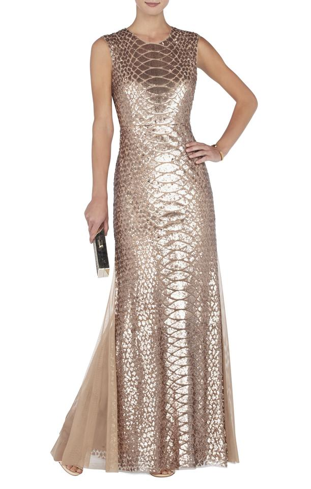 cf50fc82f45 BCBGMAXAZRIA Pink Gold Charlyze Round-neck Snake Sequined Gown Long ...