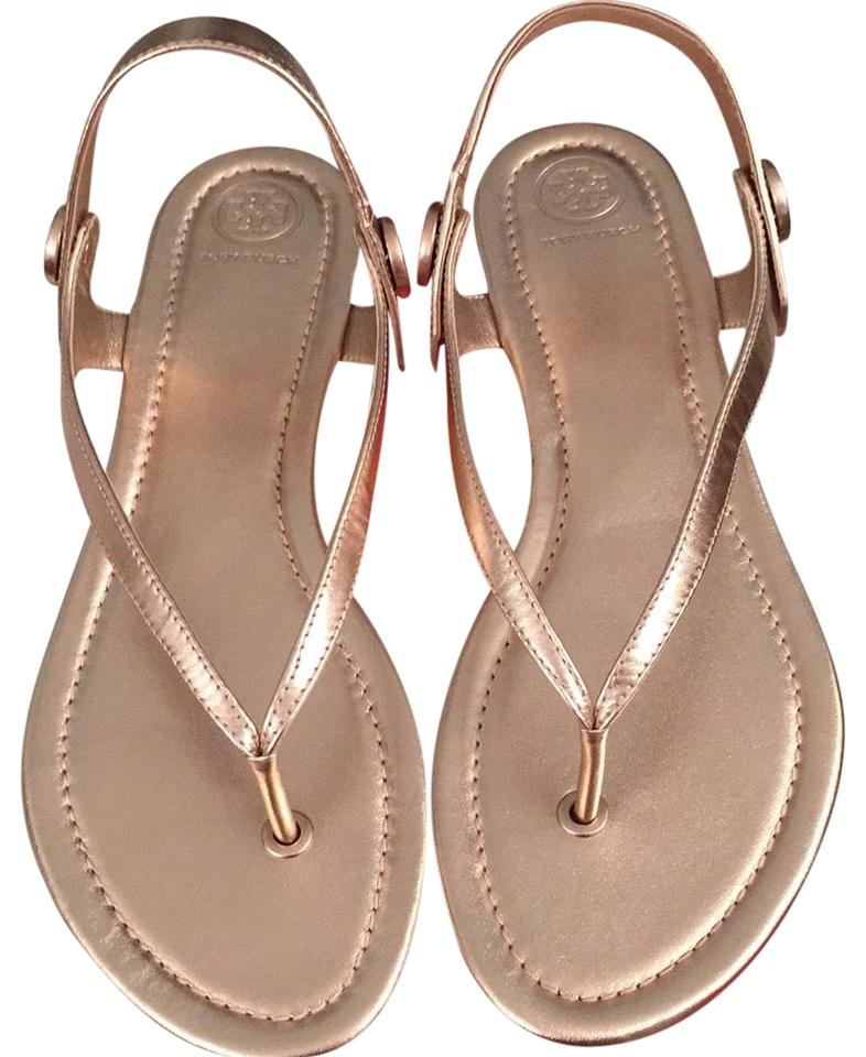 82e69cf19ab0ab Tory Burch Rose Gold Minnie Travel Sandals Size US 9.5 Regular (M