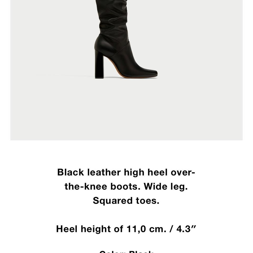 8045cd5a254 Zara Black Leather Over-the-knee High Heel Boots/Booties Size US 5 Regular  (M, B)