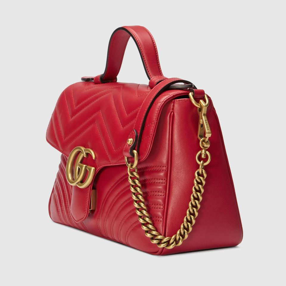 718776c6f6e6 Gucci Marmont New Handle Small Red Leather Shoulder Bag - Tradesy