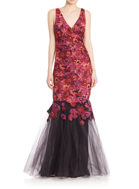 Badgley Mischka Berry-multi Women's Jacquard V-neck Gown Long Formal Dress Size 8 (M) Badgley Mischka Berry-multi Women's Jacquard V-neck Gown Long Formal Dress Size 8 (M) Image 1