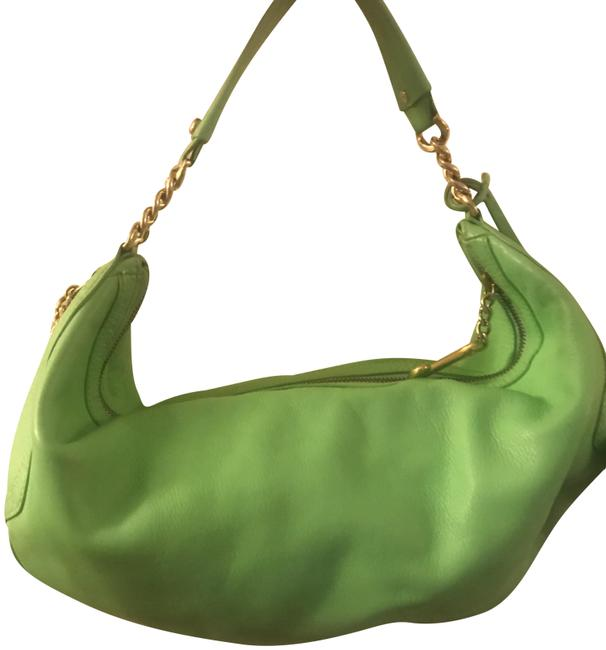 Item - With Gold Detailing Green Leather Hobo Bag