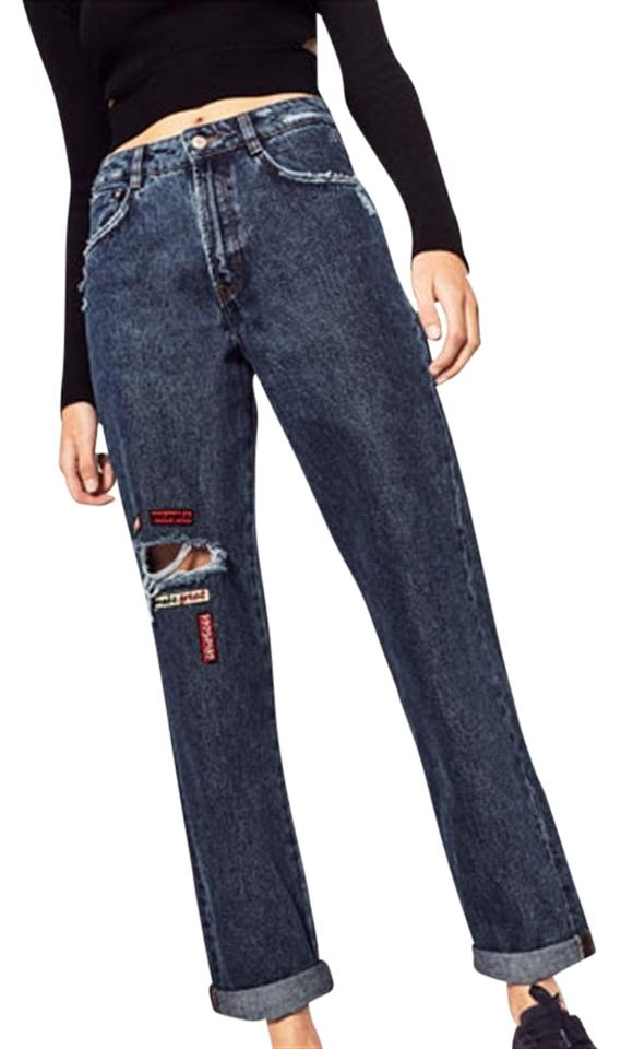 68493d43 Zara Dark Blue Rinse Mom Fit Ripped Patched New Straight Leg Jeans Size 26  (2, XS)