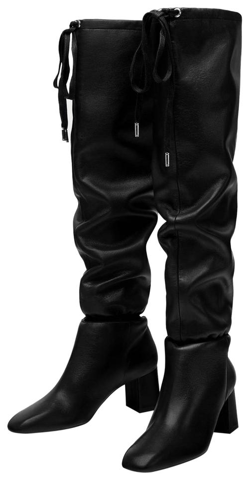 10f13b741a4 Zara Slouchy Gathered Lace Up Over The Knee Knee High black Boots Image 0  ...