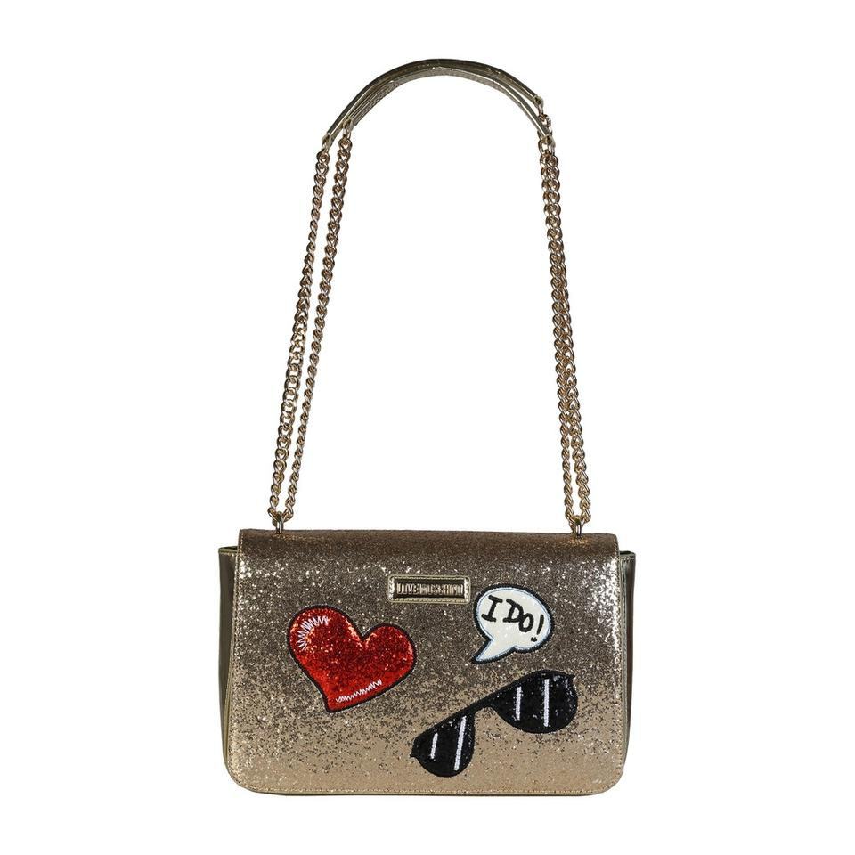 402fd1122cba Love Moschino Glitter with Patches Gold Shoulder Bag - Tradesy